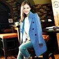 Light blue wool coat autumn / winter women's long section of double-breasted jacket lapel Slim was thin minimalist woolen coat