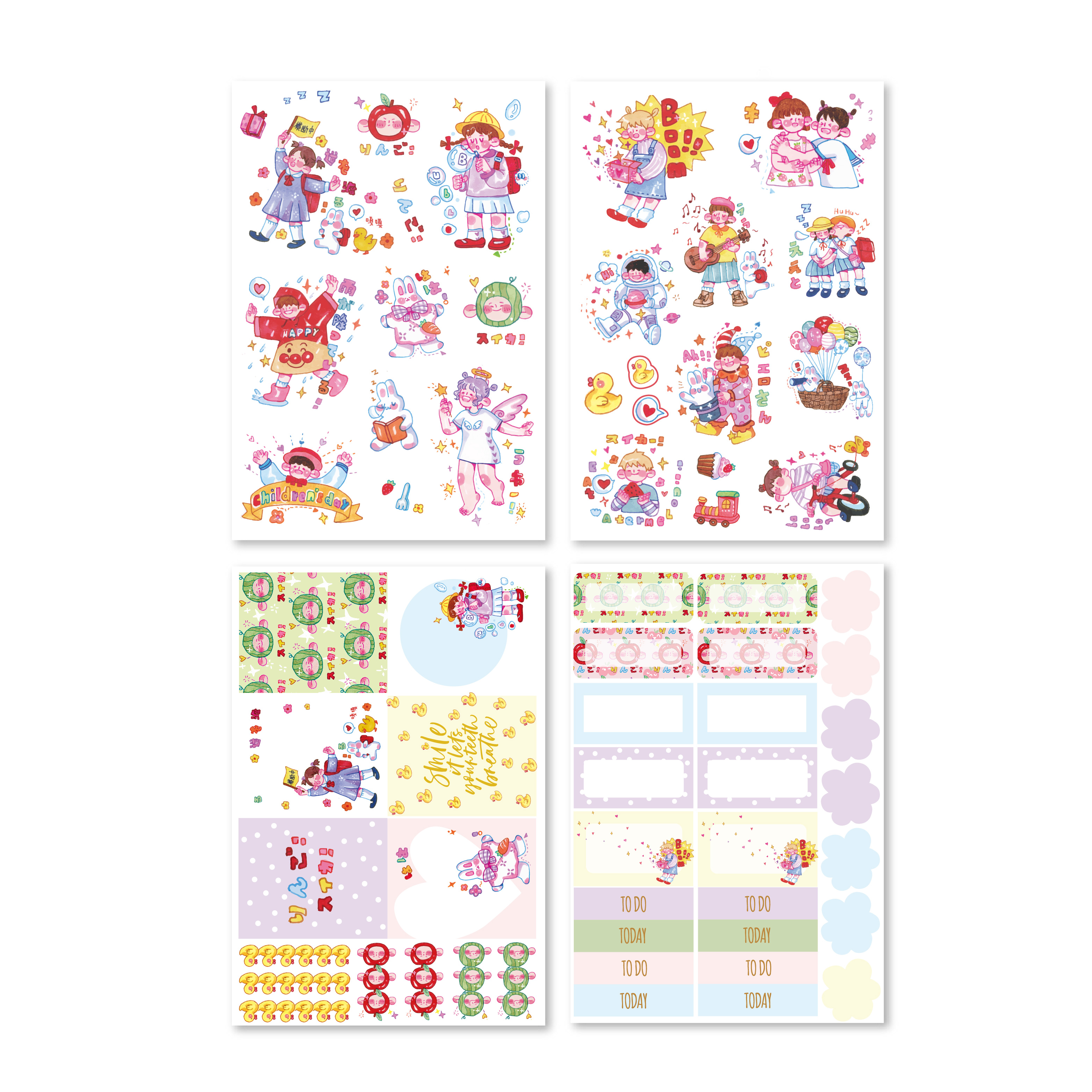 Midodo 4 Sheets/bag Childhood Series Self- adhesive Planner Paper Stickers Scrapbooking Diary Decor DIY Card Crafts(China)