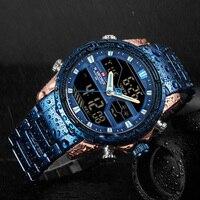 איש נירוסטה צבא צבאי שעון יד NAVIFORCE יוקרה מותג גברים שעון אופנה ספורט שעונים של גברים עמיד למים קוורץ שעון