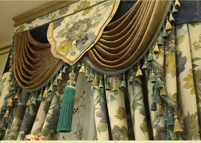 Cor da água flores de luxo design do artista gancho pendurar estilo cortinas da sala estar restaurante bege verde palácio hotel cortina - 2