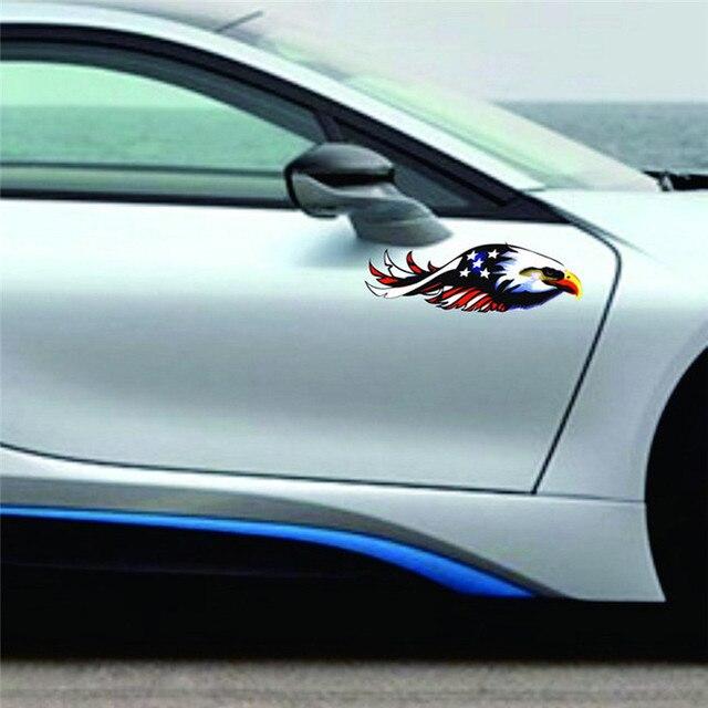 Car decal flying hawk auto truck hood side eagle usa flag sticker car stickers diy 2017