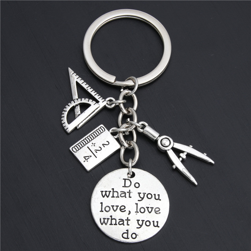 1pc Do What You Love Jewelry Teacher Key Chains Studant Keyring Ruler Pencil Compass Charms For Gift E2038(China)