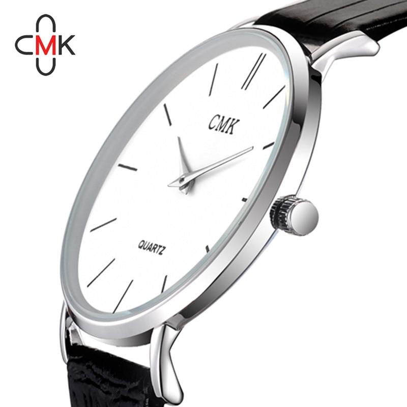 Į viršų Prabangus prekės ženklas CMK vyrų laikrodžiai Paprastas ultravioletinis pilnas odinis laikrodis vandeniui juodas baltas laisvalaikio kvarcinis laikrodis