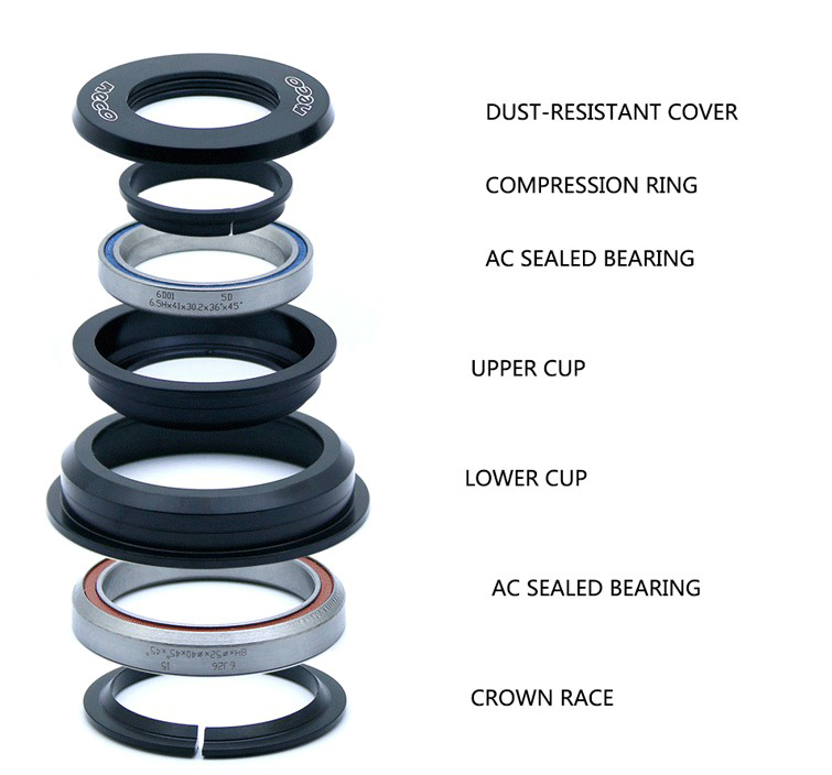 Details about  /ZS44//ZS56 Bike Headset Bicycle Bearing Set Road MTB CNC Tapered Tube Bowl Group