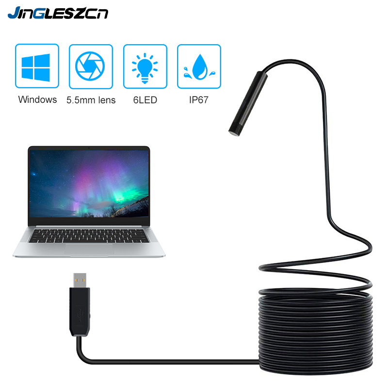 2/5/7/10/15m 5.5mm Lens USB Endoscope Camera USB Waterproof 6 LED Borescope Snake flexible Inspection Camera For PC Windows image
