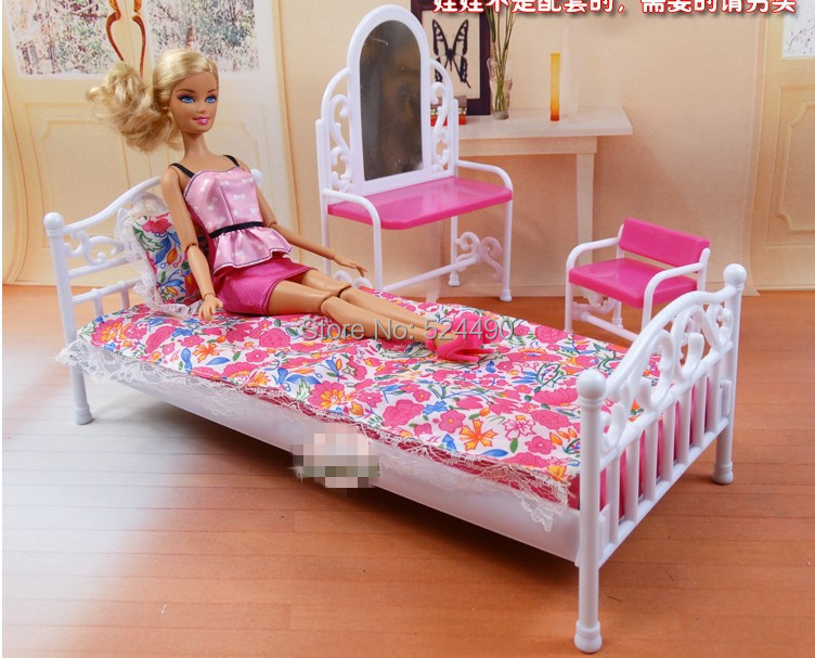 new 2014 doll furniture children baby toys girls birthday gift princess mirror bed set bedroom accessories barbie bedroom furniture