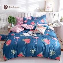 Liv-Esthete Fashion Flamingo Blue Bedding Set Duvet Cover Bedspread Flat Sheet Double Queen King Adult kids Bed Linen Wholesale