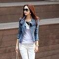 2016 do Sexo Feminino Primavera Outono Do Vintage Calça Jeans Casaco Jaqueta Jeans Curta Slim Fit Oblique Zipper Manga Comprida Casacos Sobretudo Para Mulheres