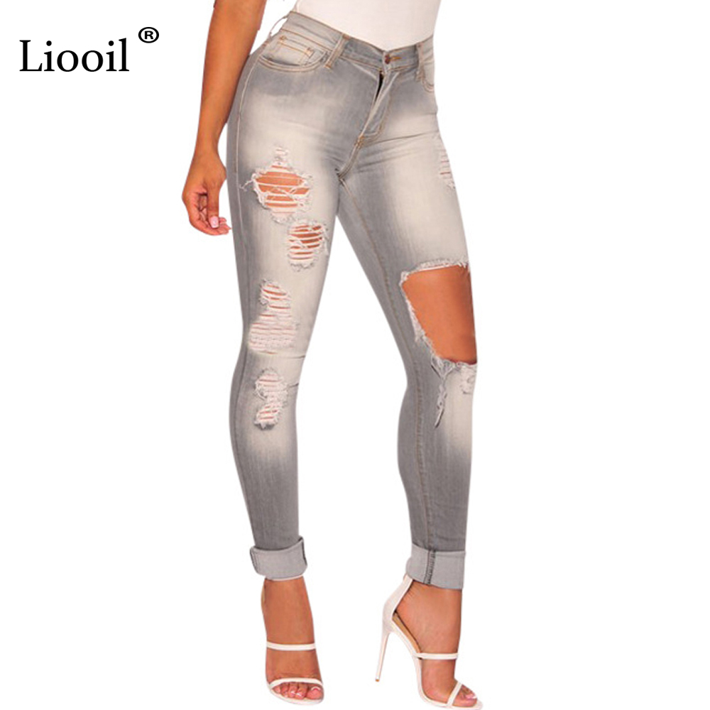 Cotton Vintage Hole Gray Jeans Autumn Winter Long Pants Pockets Zip Sexy Ripped Jeans For Women Skinny Fashion Pencil Pants autumn new fashion cotton jeans women loose low waist washed vintage big hole ripped long denim pencil pants casual girl pants