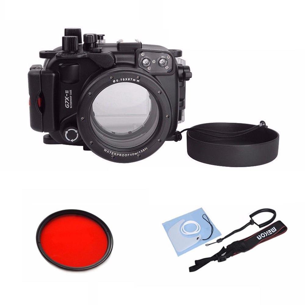 Meikon 40M 130ft Underwater Waterproof Camera Housing Case for Canon G7X Mark II