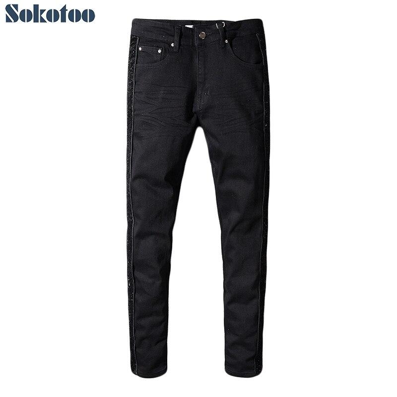 Sokotoo Men's black shinny patchwork stretch denim slim skinny   jeans   Plus size pencil pants
