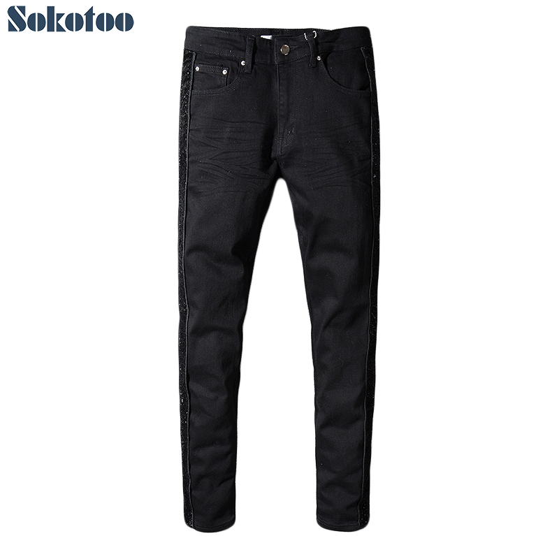Sokotoo Men's Black Shinny Patchwork Stretch Denim Slim Skinny Jeans Plus Size Pencil Pants
