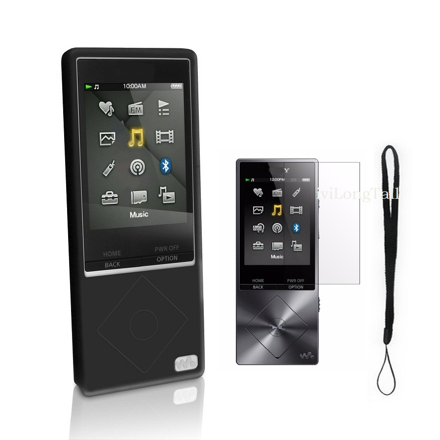 Silicone Case for Sony Walkman NWZ A15 A17 A25 A27 Cover mp3 Screen Protector Flim Strap