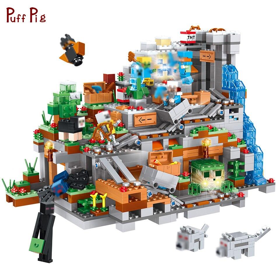 1315 piezas minunids ecrafted montaña cueva Castillo modelo bloques de construcción figuras de acción Compatible Legoe Minecraft ciudad ladrillos niños Juguetes