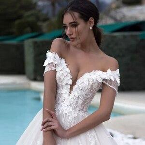 Image 4 - Brautkleid Cổ Thuyền Chữ A Váy Áo Plus Kích Thước 2020 Tua Rua Nữ Tay Tuyệt Đẹp Suknie Slubne Phối Ren Lưng Áo Dây De Mariage