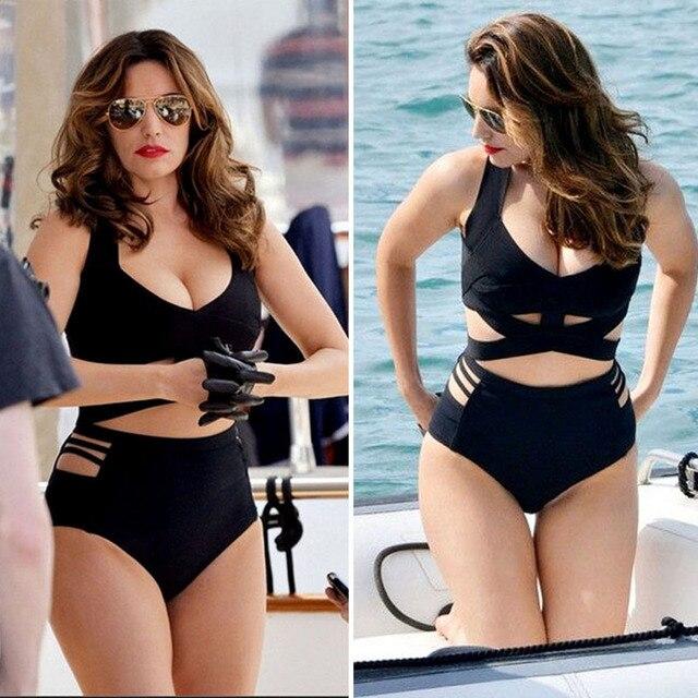 05370cc136 New Women Plus Size Swimwear Solid Black High Waisted Bikini Set Women  Swimsuit Bathing Suits Bechwear Bikinis XXXL