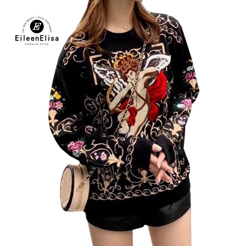 2019 Для женщин свитера Трикотаж Джемпер осень зима Роскошные вышивки вязаный свитер с длинными рукавами пуловер женский