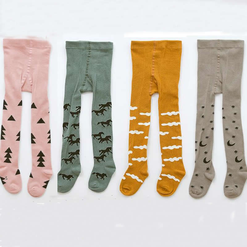 Baby Pantyhose Children Tights Cotton Toddler Girl Korea Explosion Paragraph Cartoon Pony Powder Tree Boy Tights