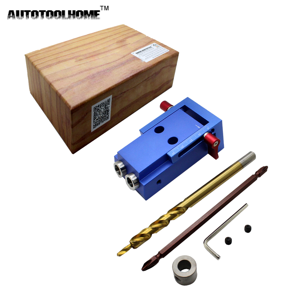 Pocket Hole Jig Kit Woodworking Step Drill Bit Wood Drilling and Stop Collar Pilot Hole Saw For ...