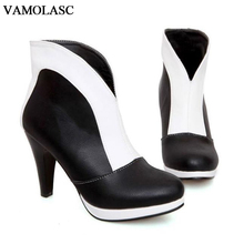VAMOLASC New Women Autumn Winter Warm Leather Ankle Boots Sexy Square High Heel Boots Platform Women Shoes Plus Size 34-43