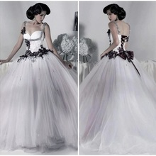 12f27877328 Victorian Gothic Wedding Dress 2019 Ball Gown Tulle Appliques Sequins  Beaded Straps Lace Up Back White and Black Wedding Dress