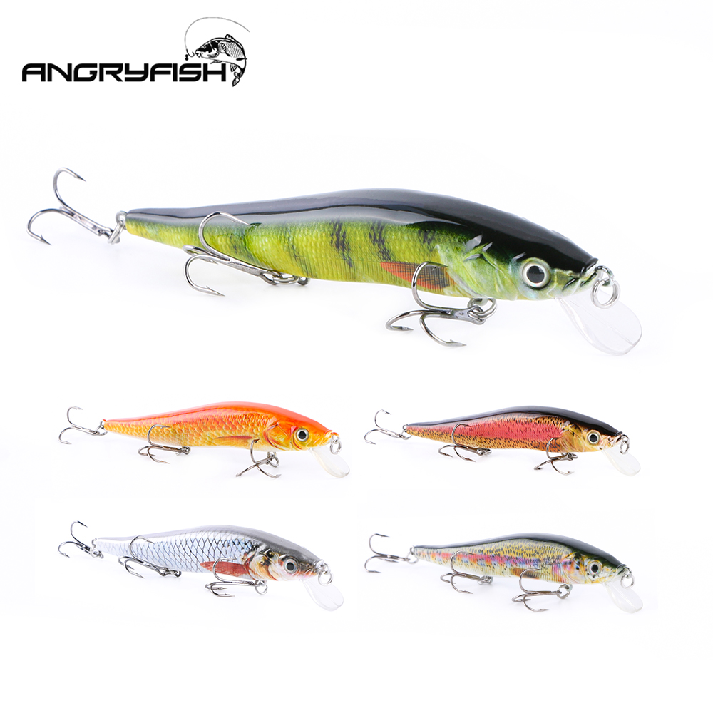 ANGRYFISH Hot Sale 1pcs 14cm 14.6g Fishing Lures Realistic Fishing Artificial Bait 5 Colors Brabed Hooks FH-008 title=