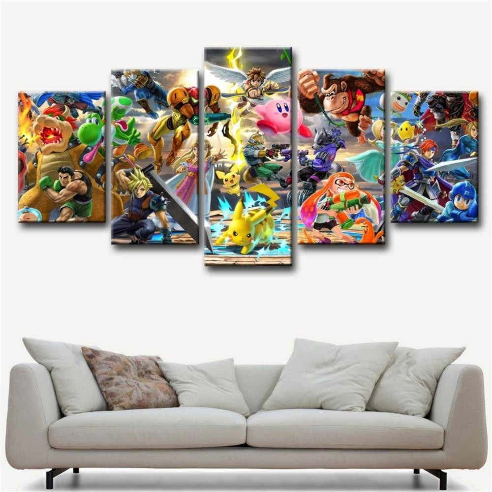 Super Smash Bros 5P Paintings Print on Canvas HD Abstract Canvas Painting Office Wall Art Home Decor Wall Pictures