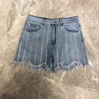 Women Denim Shorts Blue Black Casual Striped Fashiom Summer Shorts 2018 New Zipper Vintage Shorts
