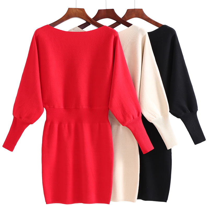 Autumn and winter new bat sleeve elastic waist large size sweater Slim package hip knit dress (9 colors optional)
