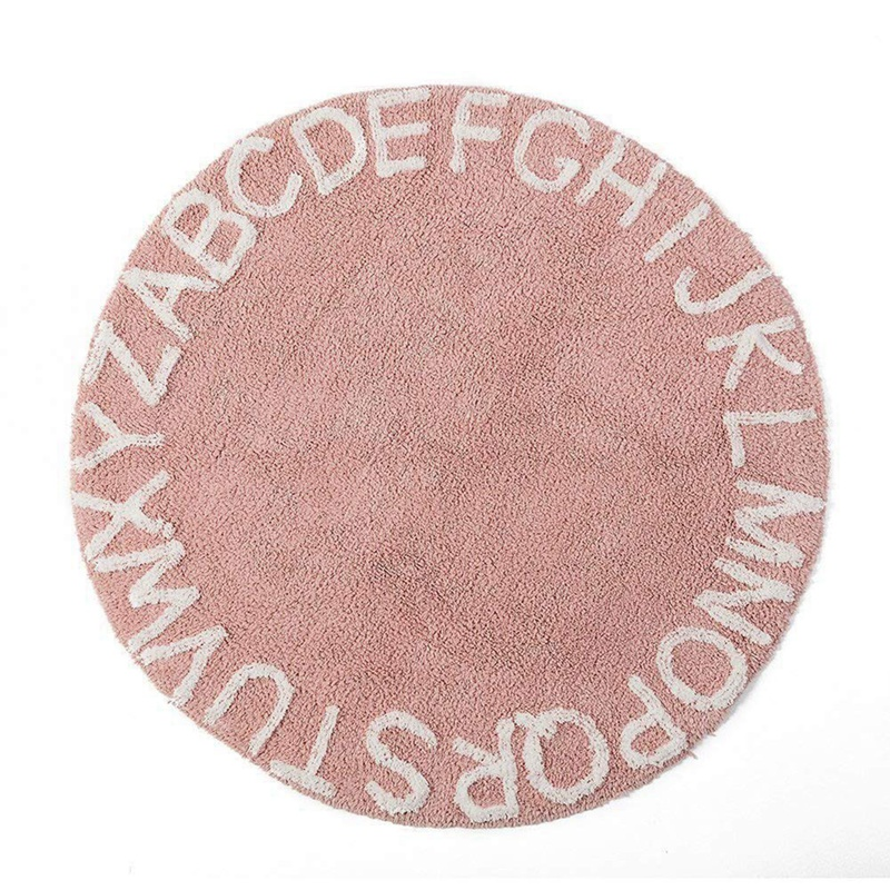 Abc Alphabet tapis de jeu rampant pour enfants-Super doux à tricoter tapis éducatifs lavables rond 120CM de diamètre rose