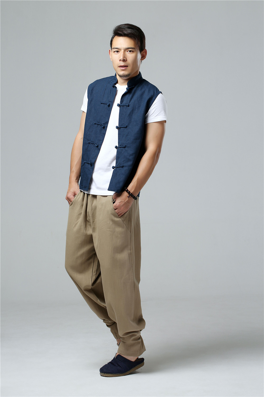 LZJN 2019 Men's Summer Waistcoat Chinese Style Vintage Breathable Linen Button Down Kung Fu Shirt Sleeveless Vest Jacket  (23)