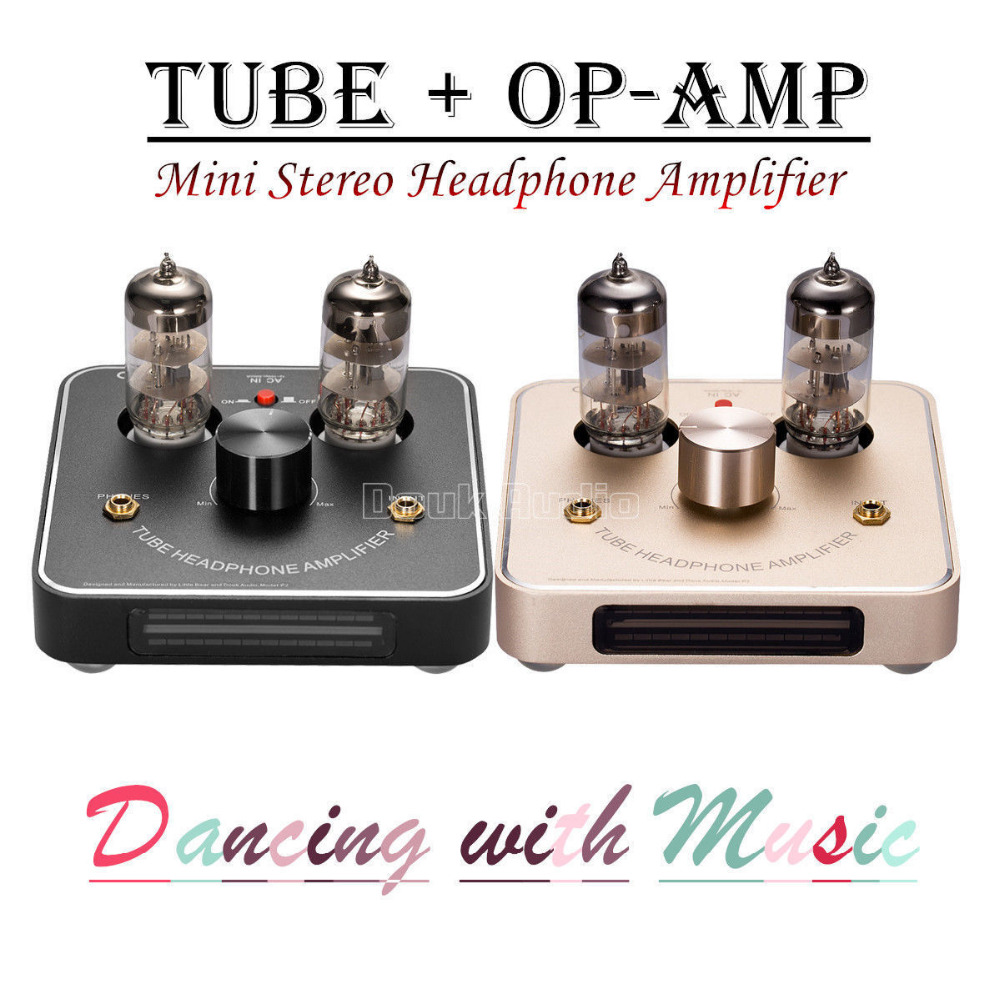 2017 New Little Bear P2 Mini 6C11 Vacuum Valve Tube Amplifier Stereo HiFi Amp With VU Meter Black/Gold 1pcs high quality little bear p5 stereo vacuum tube preamplifier audio hifi buffer pre amp diy new