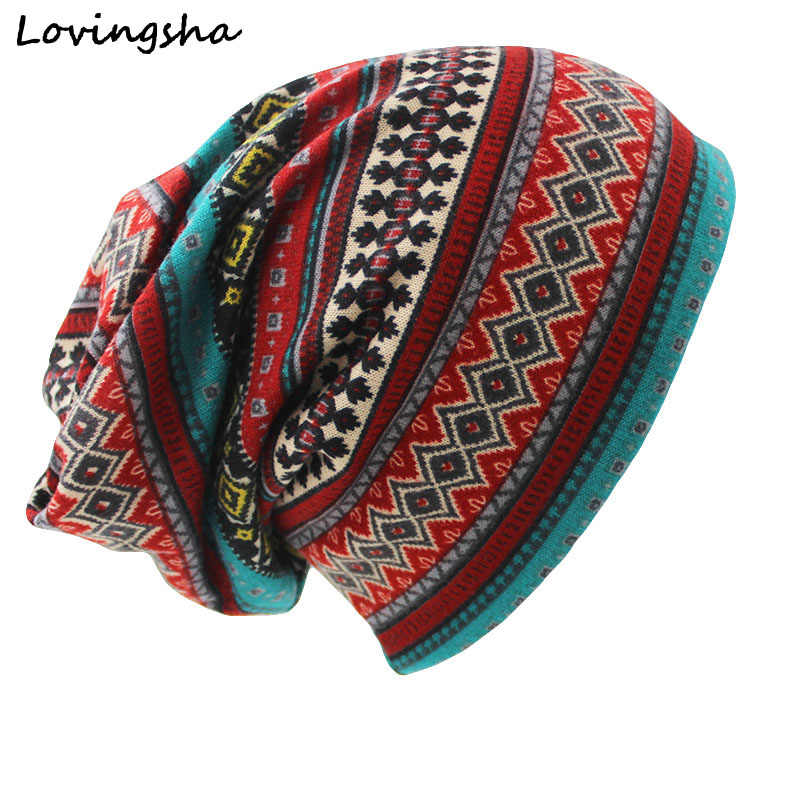 LOVINGSHA Brand Autumn Winter Dual-use Hat For Ladies thin Skullies Beanies Vintage Geometric Design Women Scarf Face Mask HT026