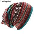 LOVINGSHA Brand Autumn Winter Dual-use Hat For Ladies thin <font><b>Skullies</b></font> <font><b>Beanies</b></font> Vintage Geometric Design Women Scarf Face Mask HT026