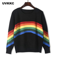 Uvkkc Women Knitted Sweater 2019 Pullover Runway Design Rainbow Patchwork Harajuku Loose Winter Pullovers Tops Jumper Pull Femme