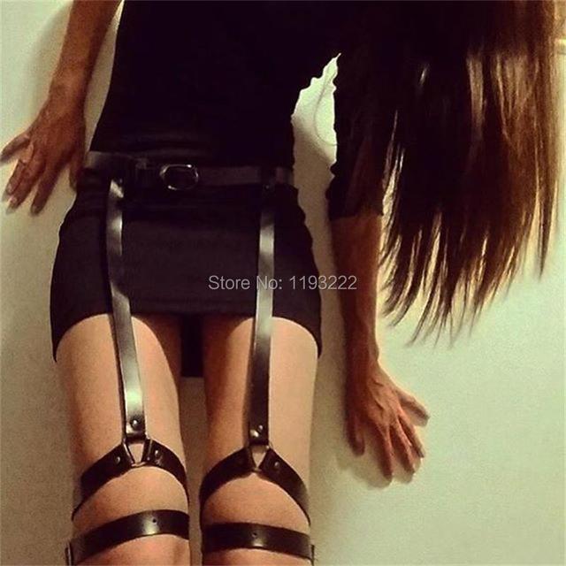 Sexy de cuero hechos a mano liguero Punk Gothic cinturilla ligas de pierna cuerpo cinta Bondage correas