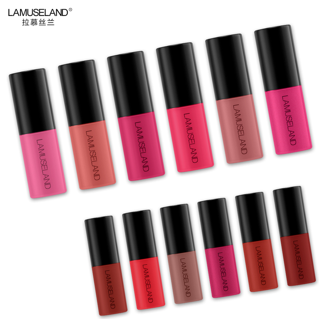 Waterproof Long-Lasting Matte Mini Liquid Lipstick Easy To Carry 12 Colors 3.5g Lip Makeup Brand LAMUSELAND #L18L11 2