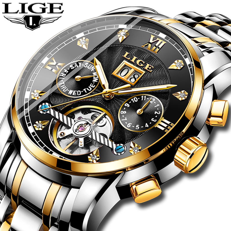 LIGE Brands Men Automatic Mechanical Tourbillon Watch Luxury Fashion Stainless Steel Sports Watches Mens Clock Relogio