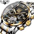 LIGE самых лучших брендов, Для мужчин автоматические механические тourbillon часы Роскошные модные Нержавеющаясталь спортивные часы для мужчин ...