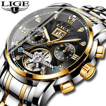 LIGE Brands Men Automatic Mechanical Tourbillon Watch Luxury Fashion Stainless Steel Sports Watches Mens Clock Relogio Masculino - DISCOUNT ITEM  90% OFF All Category