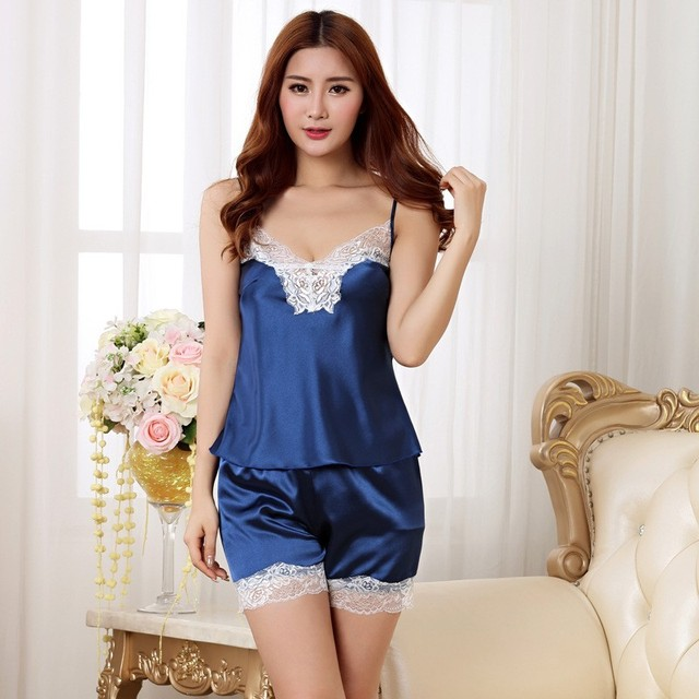 Fashion Young Girl Home Wear Sexy Lace V Neck Pajamas Set -2327