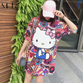 XXXL Plus Size Women Tops 2017 Summer Japanese Kawaii Cartoon Printed O-Neck Short Sleeve Loose Casual Oversized Long Tshirt