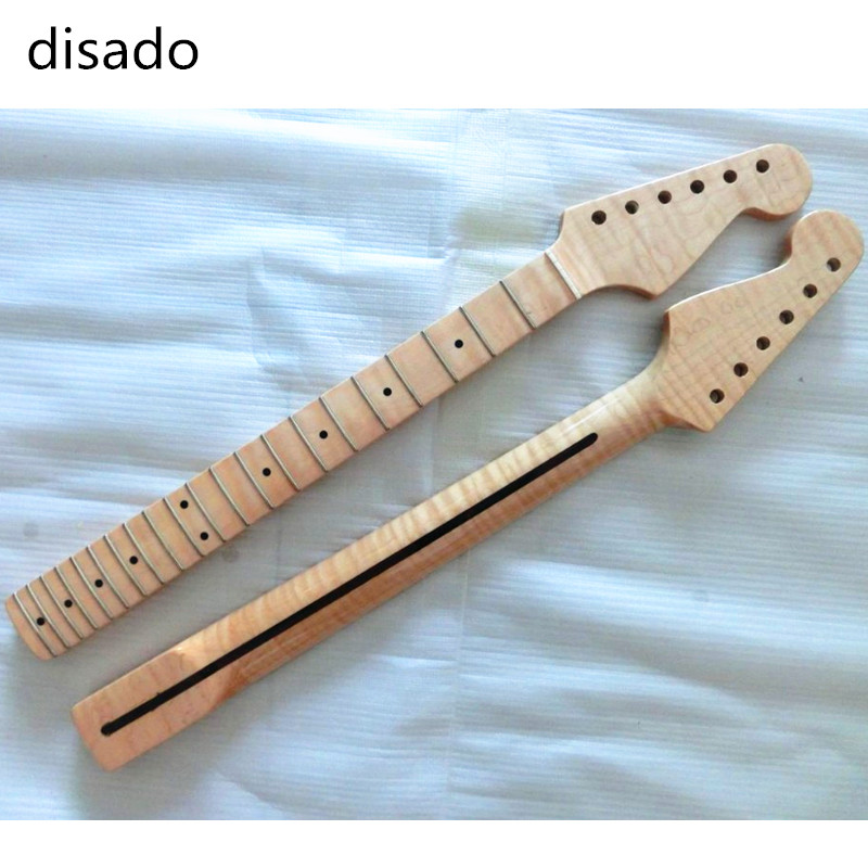disado 21 Frets Tiger flame maple wood Color Electric Guitar Neck Guitar accessories guitarra musical instruments Parts disado 24 frets inlay dots maple electric guitar neck maple fingerboard wood color black headstock guitar accessories parts