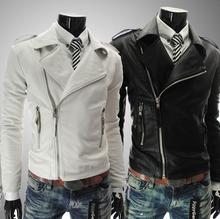 Black brown white autumn man PU motorcycle short coats mens faux leather jacket 2016 oblique zipper men clothing fashion M – 2XL
