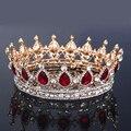 Fashion Large Azul Rey Reina Europea Rojo Boda Del Desfile de la Corona de La Tiara Del Rhinestone Cristalino Nupcial Del Pelo Accesorios de La Joyería