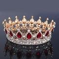 Moda Grande Europeu Azul Rei Rainha Coroa Tiara de Strass Pageant Nupcial do Casamento De Cristal Vermelho Acessórios Para o Cabelo Jóias