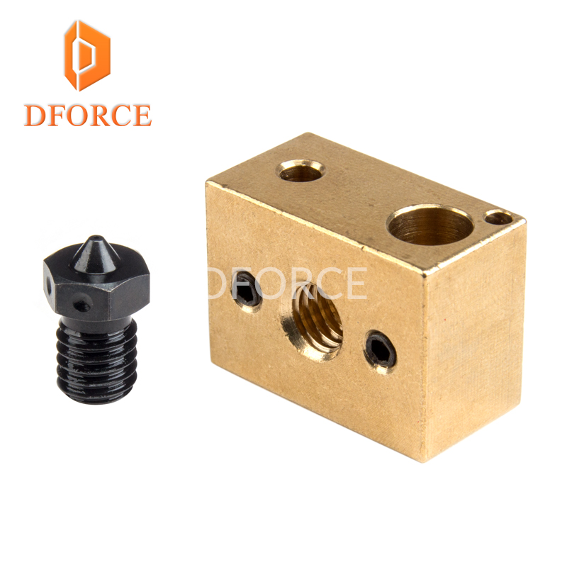 high temperature A2 Hardened Steel V6 Nozzles + copper brass heater block for printing PEI PEEK or Carbon fiber for E3D HOTEND 1pcs hardened steel volcano nozzles for high temperature 3d printing pei peek or carbon fiber filament for e3dvolcano hotend