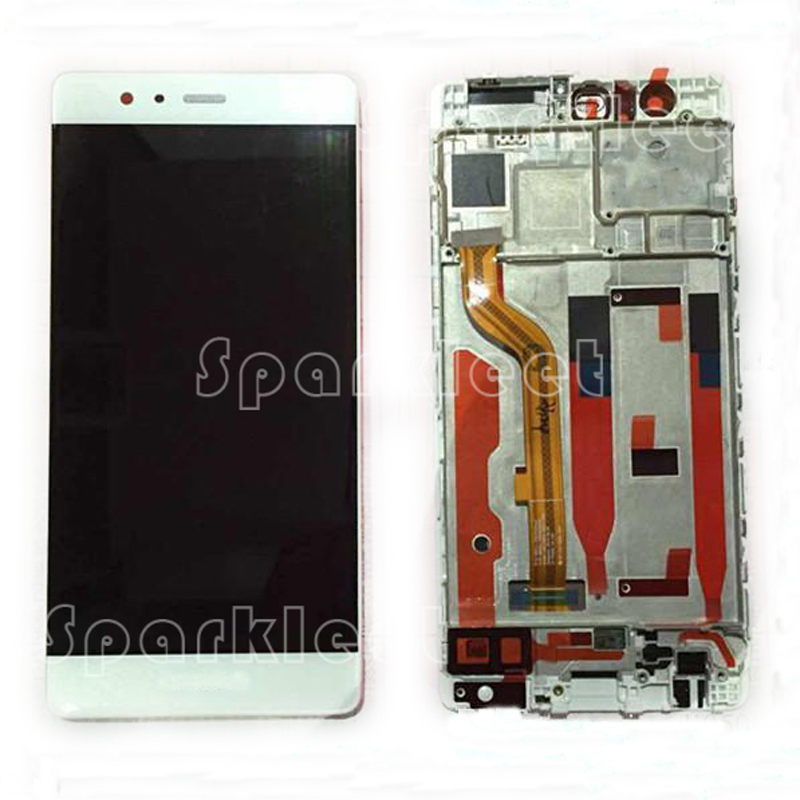 LCD Display with Frame For Huawei P9 Touch Screen Digitizer Assembly Repair Parts Free Shipping for htc one m9 lcd display screen with touch screen digitizer assembly repair parts gray silver gold color free shipping tools