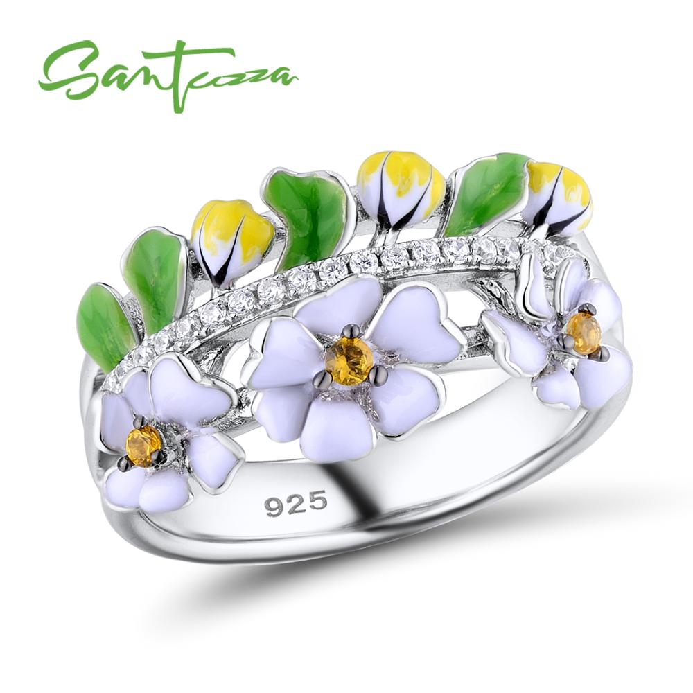 SANTUZZA Silver Ring For Women 925 Sterling Silver Vintage Green Leaf White Flower Party Fashion Jewelry