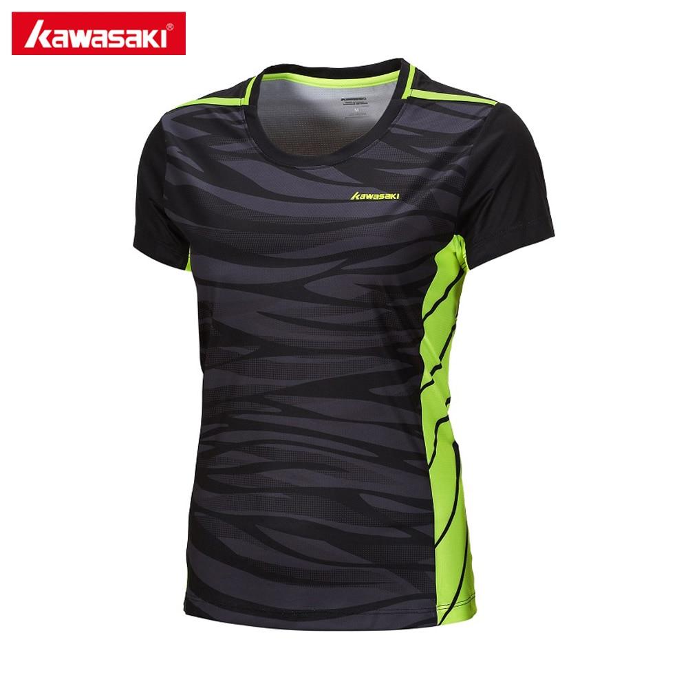 2017 Kawasaki Women Quick Dry Short Sleeve T-shirt Tennis Badminton Clothes O Neck Lady Fitness Running Gym T Shirts ST-172022